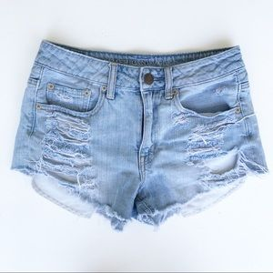 American Eagle High Rise Festival Denim Shorts